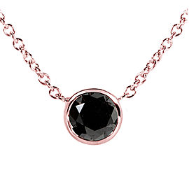 "Black Diamond Solitaire 3/4 Carat Round Bezel Necklace in 14K Gold (16"" Chain) - rose-gold"
