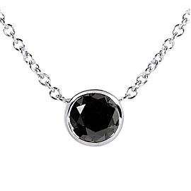 "Black Diamond Solitaire 3/4 Carat Round Bezel Necklace in 14K Gold (16"" Chain) - white-gold"