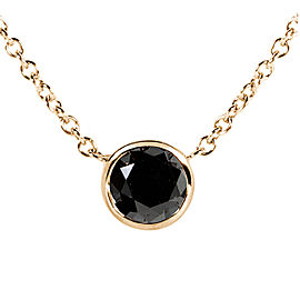 "Black Diamond Solitaire 3/4 Carat Round Bezel Necklace in 14K Gold (16"" Chain) - yellow-gold"