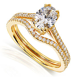 Oval-cut Diamond Bridal Set Ring 1 Carat (ctw) in 14k Yellow Gold (Certified)