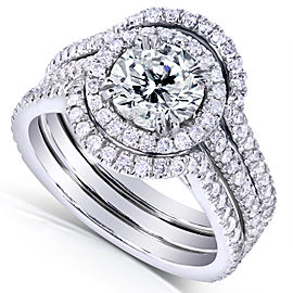 Round-cut Halo Diamond 3-Piece Bridal Ring Set 1 5/8 Carat (ctw) in 14k White Gold