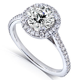 Round-cut Diamond Halo Engagement Ring 1 1/4 Carat (ctw) in 14k White Gold