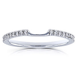 Notched Diamond Wedding Band 1/8 Carats (ctw) in 14k White Gold