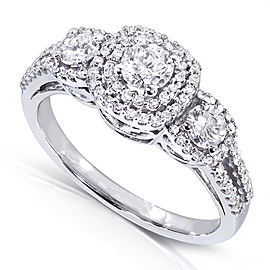 Three-Stone Diamond Cluster Engagement Ring 1 Carat (ctw) in 14k White Gold