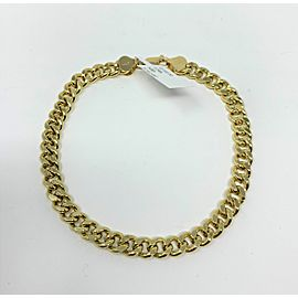 14K Yellow Gold Cuban Curb Link Chain Bracelet