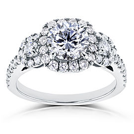 Round Halo Style Diamond Engagement Ring 1 3/4 CTW in 14k White Gold