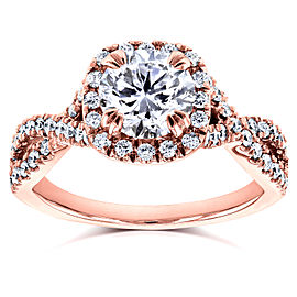Round Halo Style Diamond Engagement Ring 1 1/2 CTW in 14k Rose Gold