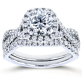 Round Halo Style Diamond Braided Bridal Set 1 3/4 CTW in 14k White Gold