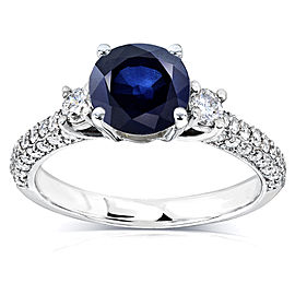 Three-Stone Sapphire and Diamond Engagement Ring 1 1/2 CTW in 14k White Gold