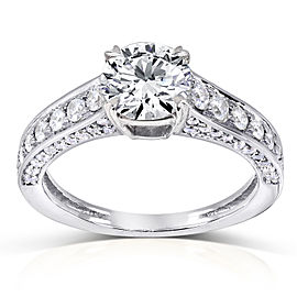 Round 1 Carat Center Diamond Engagement Ring 1 1/2 CTW in 14k White Gold