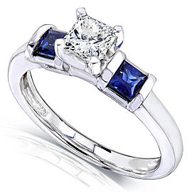Blue Sapphire and Diamond Engagement Ring 7/8 Carat (ctw) In 14k White Gold