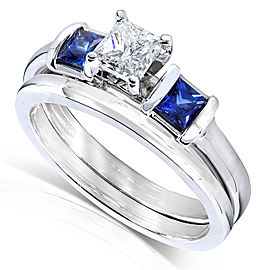 Blue Sapphire and Diamond Bridal Ring Set 7/8 Carat (ctw) In 14k White Gold