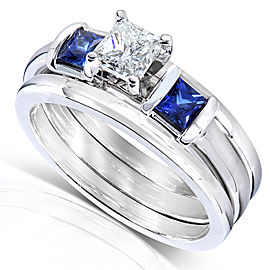 Blue Sapphire and Diamond Bridal Ring Set 7/8 Carat (ctw) In 14k White Gold (3 Piece Set)