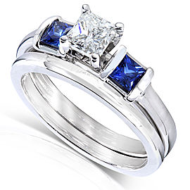 Blue Sapphire and Diamond Bridal Ring Set 1 Carat (ctw) In 14k White Gold