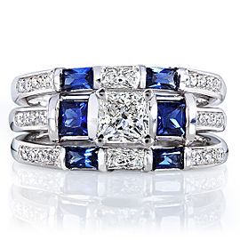 Blue Sapphire and Diamond Bridal Ring Set 1 3/5 Carat (ctw) in 14k White Gold (3 Piece Set)