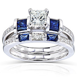 Blue Sapphire and Diamond Bridal Ring Set 1 1/4 Carat (ctw) in 14k White Gold