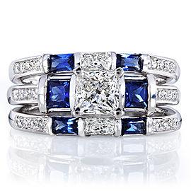 Blue Sapphire and Diamond Bridal Ring Set 1 7/8 Carat (ctw) in14k White Gold (3 Piece Set)