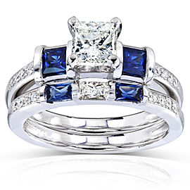 Blue Sapphire and Diamond Bridal Ring Set 1 1/2 Carat (ctw) in 14k White Gold