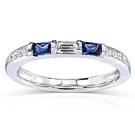 Blue Sapphire and Diamond Band 1/3 CTW In 14k White Gold
