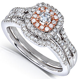 Round-cut Diamond Bridal Ring Set 1/2 Carat (ctw) in 14k Gold