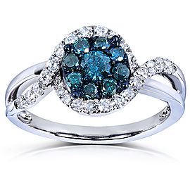 Blue and White Diamond Ring 3/4 Carat (ctw) in 14k White Gold - 4.0