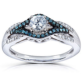 Blue and White Diamond Ring 1/2 Carat (ctw) in 14k White Gold - 5.0