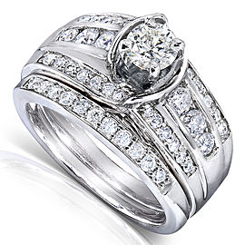 Round-cut Diamond Bridal Set 1 Carat (ctw) in 14k White Gold - 11.0