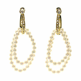 TASAKI 18K Yellow Gold Diamond Double Pearl Pearl Earring