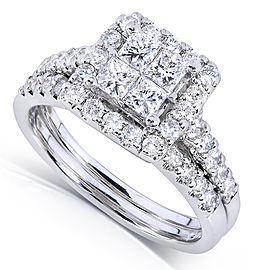 Princess and Round Diamond Bridal Set 1 5/8 Carat (ctw) in 14k White Gold