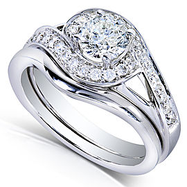 Round-cut Diamond Bridal Ring Set 3/4 Carat (ctw) in 14k White Gold - 9.0