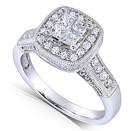 Princess Quad Diamond Engagement Ring 5/8 Carat (ctw) in 14k White Gold