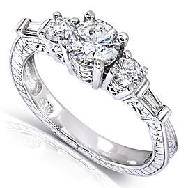 Vintage Round & Baguette Diamond Engagement Ring 1 Carat (ctw) in 14k White Gold