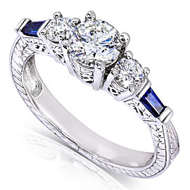 Vintage Three-Stone Diamond and Sapphire Engagement Ring 1 Carat (ctw) in 14k White Gold