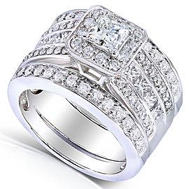 Princess-cut Diamond 3-Piece Bridal Ring Set 1 4/5 Carat (ctw) in 14k White Gold