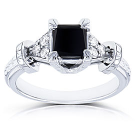 Black Princess Diamond Vintage Ring 1 1/8 CTW in 14k White Gold