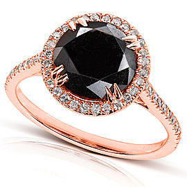 Black and White Diamond Engagement Ring 3 3/4 Carat (ctw) in 14K Gold - Rose-gold