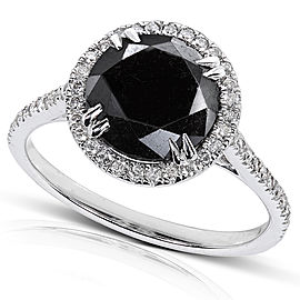 Black and White Diamond Engagement Ring 3 3/4 Carat (ctw) in 14K Gold - white-gold
