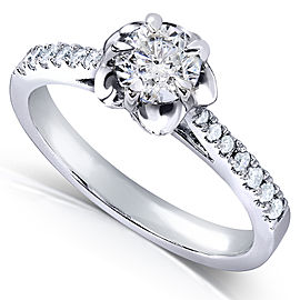 Round-cut Diamond Engagement Ring 1/2 Carat (ctw) in 14k White Gold