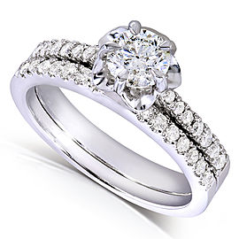 Round-cut Diamond Bridal Ring Set 5/8 Carat (ctw) in 14k White Gold