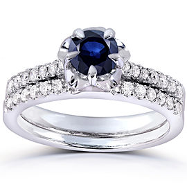 Round Blue Sapphire & Diamond Bridal Set 3/4 CTW in 14k White Gold