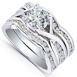 Round-Cut Diamond Braided Bridal Set 1 3/4 Carat (ctw) in 14k White Gold (3 Piece Set)