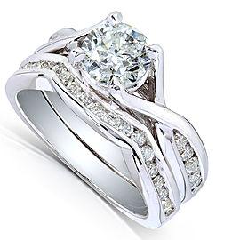 Round-Cut Diamond Braided Bridal Set 1 1/2 Carat (ctw) in 14k White Gold (2 Piece Set)