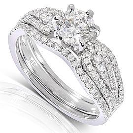 Round-cut Diamond Bridal Ring Set 1 1/5 Carat (ctw) in 14k White Gold (3-Piece Set)