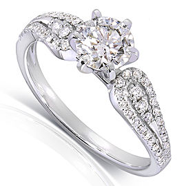 Round Diamond Engagement Ring 1 Carat (ctw) in 14k White Gold