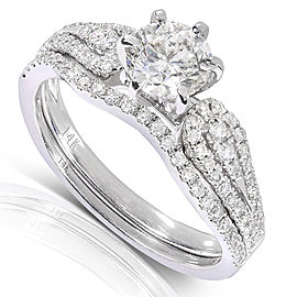 Round-cut Diamond Bridal Ring Set 1 1/10 Carat (ctw) in 14k White Gold (2-Piece Set)
