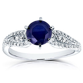 Blue Sapphire and Diamond Wavy Engagement Ring 1 1/2 CTW in 14k White Gold