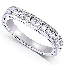 Round Diamond Contoured Wedding Band 2/5 Carat (ctw) in 14K White Gold (for MZ61932R) - 11.0