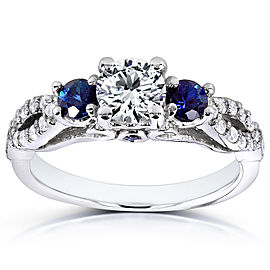 Round-cut Blue Sapphire and Diamond Three Stone Ring 1 Carat (ctw) in 14k White Gold - 11.0