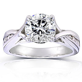 Round-cut Diamond Engagement Ring 1 1/5 CTW in 14k White Gold - 11.0
