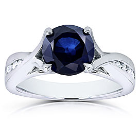 Round Blue Sapphire & Diamond Engagement Ring 1 1/5 CTW in 14k White Gold - 11.0
